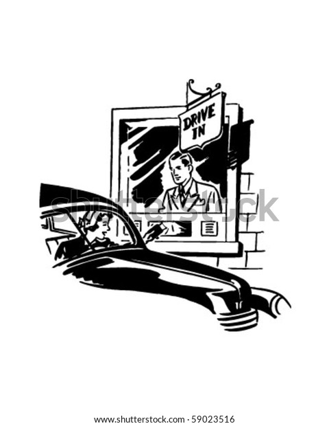 Drive Thru Banking - Retro Clip Art