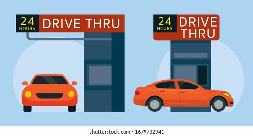 Drive Thru Fast Food Restaurant, Front View and Side View, Flat Vector Illustration