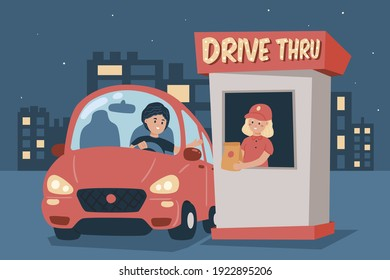 Drive thru fast food restaurant. Employee worker serving customer or driver. Person in uniform sells fastfood. Man take a completed order in a takeaway store. Vector illustration.