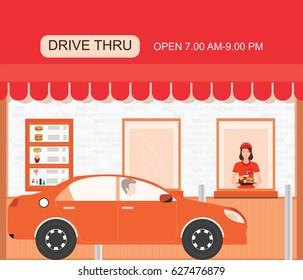 Drive thru fast food restaurant on a brick building, flat design vector illustration.