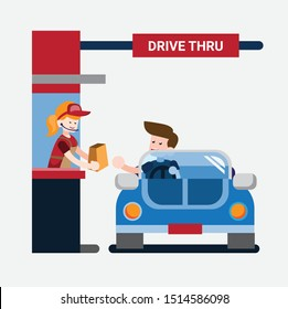 Drive Thru Flat Design Vector