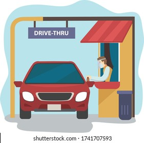 Drive thru in pandemic illustration