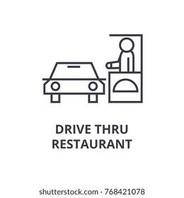 drive thru restaurant line icon, outline sign, linear symbol, vector, flat illustration
