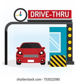 Drive thru sign Fast way business for takeaway with red car vector illustration on white background