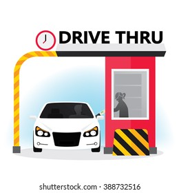 Drive thru sign. Illustration of a customer services at the drive thru lane.