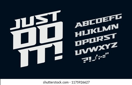 Drive vector alphabet. Race modern serif font. Dynamic movement letters set. White bold italic typeset on dark background.