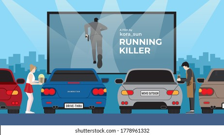 Drive-in car movie with automobiles parking in open air. Outdoor  action movie theater with popcorn and coffee seller. Vector Illustration flat style design concept and idea.