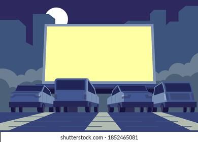 Drive-in movie theater illustration Vector illustration