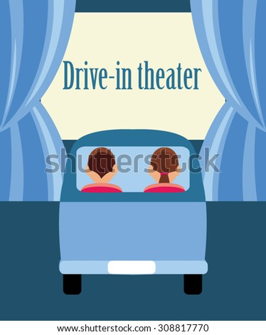 drivein theater flat illustration movie clip stock vector royalty