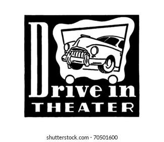 Drive-In Theater - Retro Ad Art - Banner
