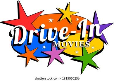 Drive-n movies retro mid-century label