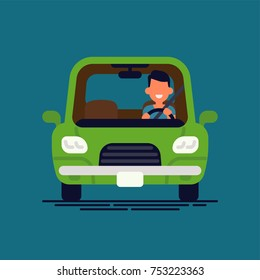 Driver behind the wheel. Man drives his car, flat design vector minimalistic illustration