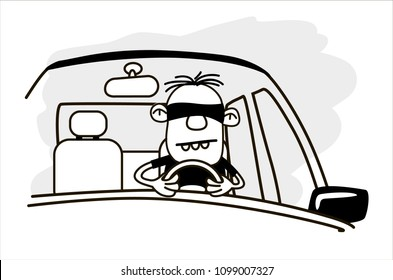Driver blindfolded. Funny vector.