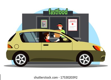 Driver in car takes fast food order at Drive Thru counter. People wearing medical protection masks, gloves. Vector illustration of distance service scene in coronavirus pandemic, infection prevention