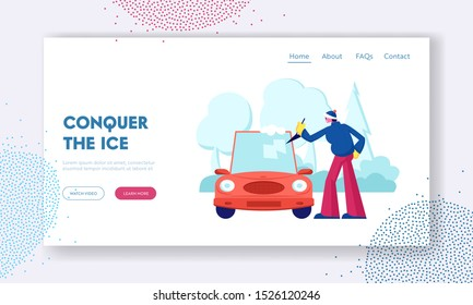 Driver Care of Automobile at House Yard Website Landing Page. Man Cleaning Car Window with Spade from Ice and Snow at Winter Time after Night Blizzard Web Page Banner. Cartoon Flat Vector Illustration