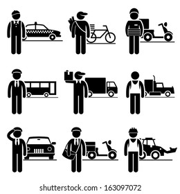 Driver Delivery Jobs Occupations Careers - Taxi, Newspaper, Pizza, Bus, Mover, Truck, Chauffeur, Postman, Construction Vehicle - Stick Figure Pictogram