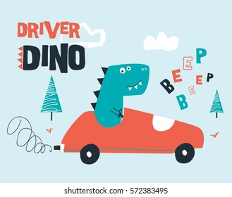 driver dinosaur illustration drawn for baby clothes