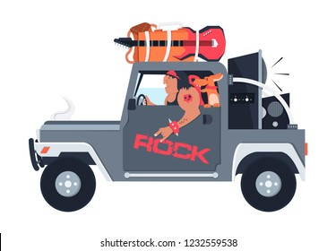 the driver and the dog are going to a rock concert,heavy music lover machine,rocker listening to music,Vector image, flat design, cartoon character