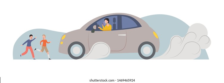 Driver focusing on phone close to crush children in front of car. Distracted driver dangerous for pedestrians. Transport accident with kids. Highway code for drivers concept. Flat cartoon vector