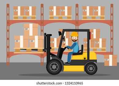 Driver of the forklift carries boxes in the warehouse.