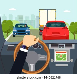The driver is going to overtake on a suburban highway. View from inside the car cabin. Vector flat style illustration.