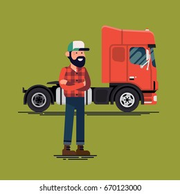 Driver with his lorry. Cool vector flat design illustration on truck driver character standing in front of european truck vehicle