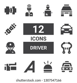driver icon set. Collection of 12 filled driver icons included Taxi, Hooter, Adrive, Brake, Driver, Delivery man, Seat belt, Seatbelt