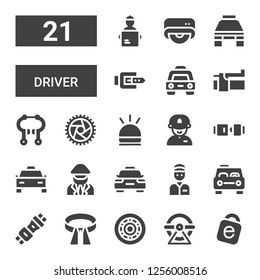 driver icon set. Collection of 21 filled driver icons included Idrive, Wheel, Belt, Seat belt, Taxi, Delivery man, Driver, Hooter, Brake, Drive