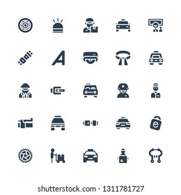 driver icon set. Collection of 25 filled driver icons included Brake, Delivery man, Taxi, Wheel, Idrive, Seat belt, Driver, Belt, Drive, Adrive, Hooter