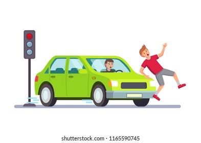 Driver knocks a pedestrian. Modern flat style thin line vector illustration isolated on white background.