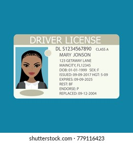 Driver license with african american female photo,flat template,cartoon vector illustration