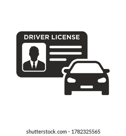 Driver license icon. Car. Vector icon isolated on white background.