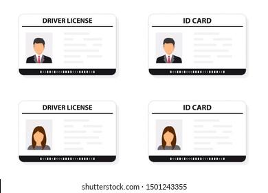 Driver license. ID card. Identification card icon. Man and woman driver license and ID cards card template. Icon driver's license. Driver license, identity verification, person data.