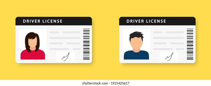 Driver license. ID card. Identity card with a photograph of a man and a woman. Icon driver's license. Driver license id with photo avatar icon. Vector illustration. EPS 10