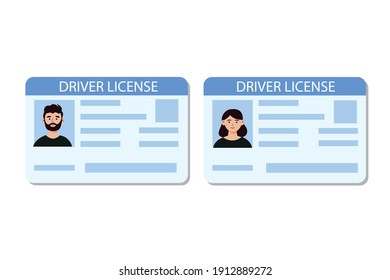 Driver license, Identity card, ID card with man and woman photos. Hand drawn vector illustration in flat style