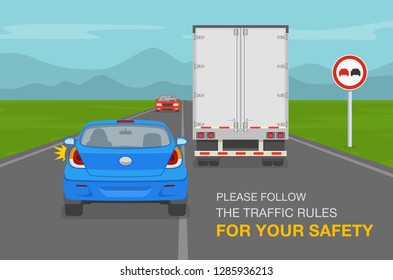 Driver overtaking a truck trailer on highway. Blue car is breaking the traffic rules. Flat vector illustration.