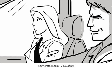 A driver and a passenger in a car, Male driver and female passenger black and white vector sketch. Man and woman go in the car. Simple drawing.