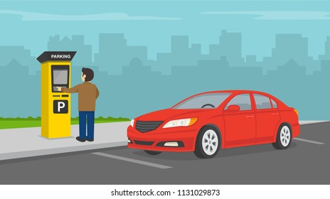 Driver paying for parking. Parking zone with payment system. Red car perspective view. Flat vector illustration
