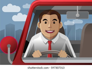 A driver of the red car was driving their vehicle with happy and smiling.