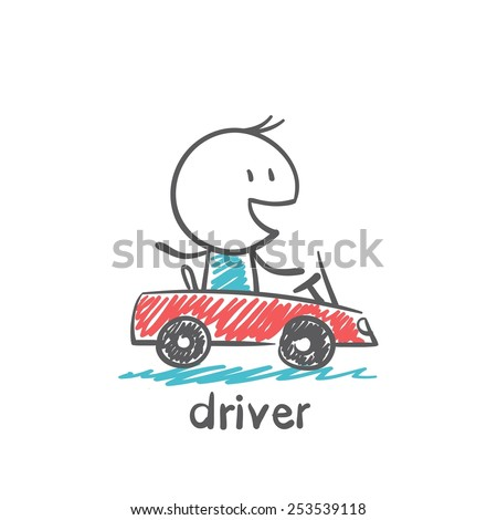 Driver Rides Car Illustration Stock Vector (Royalty Free
