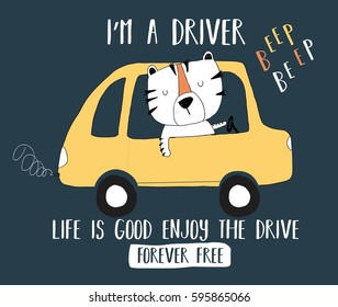 driver tiger illustration vector for print design.