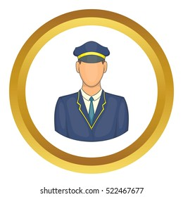Driver of train vector icon in golden circle 655f7ecb6d3