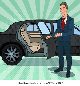 Driver Waiting near Black Limousine. Chauffeur of Luxury Car. Pop Art vector illustration