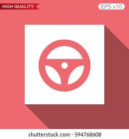Driver wheel icon. Button with driver wheel icon. Modern UI vector.