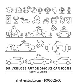 Driverless autonomous car editable stroke outline icons set.  Self-driving smart intelligent vehicle thin sign.