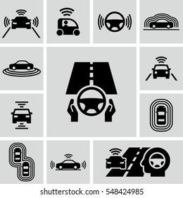 Driverless autonomous car vector icons