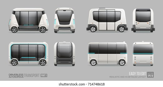 Driverless Autonomous Self driving mini bus, van vector template. Driverless electric future transport. Autonomous  vehicle shuttle bus side and front view
