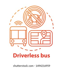 Driverless bus concept icon. Autopilot for city passenger transportation. Autonomous vehicle on route idea thin line illustration. Vector isolated outline drawing. Editable stroke