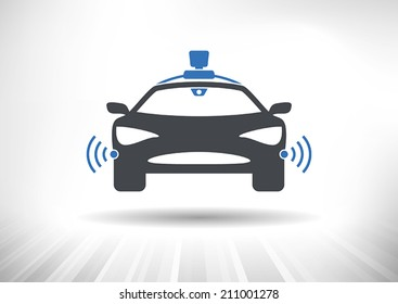 Driverless car icon with roof camera and radar sensor symbols. Front view. Fully scalable vector illustration.