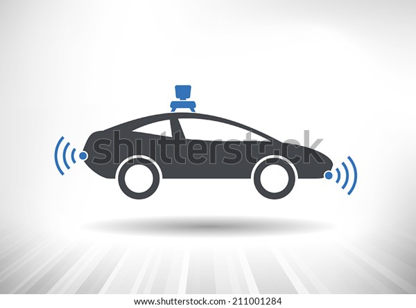 Driverless car icon with roof camera and radar sensor symbols. Side view. Fully scalable vector illustration.